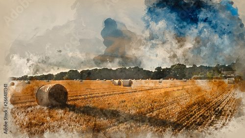 Obraz Watercolor painting of Beautiful countryside landscape image of hay bales in Summer field during colorful sunset - fototapety do salonu