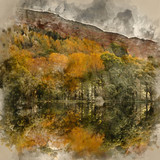 Watercolor painting of Stunning Autumn Fall landscape image of wide countryside in Lake District in England - 266481515