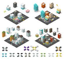 City Isometric Set. Cityscape ...