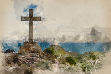 Watercolor Painting Of Landscape Of Cross Monument On Ynys Llanddwyn Island In Angelsey With Twr Mawr Lighthouse In Background.