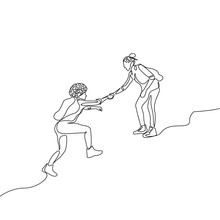 Continuous One Line Drawing Woman Help Climb Up To Other Woman. Mutual Support Concept