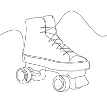 Continuous One Line Roller Skate. Sport, Recreation, Friendship, Relax, Hobby Theme.