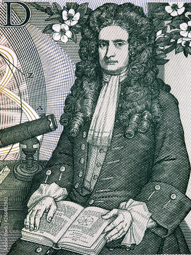 Fotomural Isaac Newton a portrait from old English money
