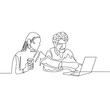 Continuous one line drawing couple have fun with laptop internet