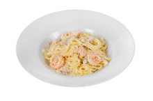 Pasta, Noodles With Seafood, Shrimp, Squid Isolated White