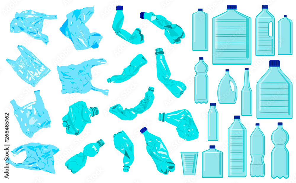 Fototapeta Set of cellophane bags, crumble bottles and plastic bottles. Plastic pollution. Ecology problem
