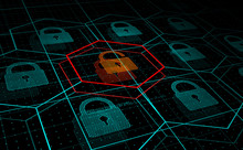 Cyber Attack, System Under Threat, DDoS Attack. Camera Flies Frough HUD Blue Hexagons And Padlocks, But One Of Them Hacked. Cyber Security And Hacking Concept. Vector Illustration.