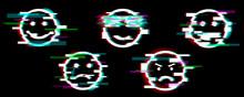 Glitch Emoji Icons. Set Of Smi...
