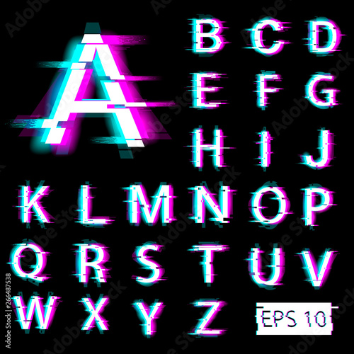 Fototapeta Glitch english alphabet. Distorted letters with broken pixel effect. Vector. EPS 10. obraz