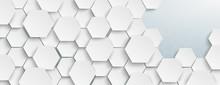 White Hexagon Structure Left Grey Edge Header