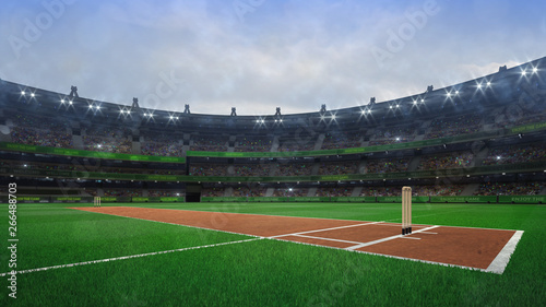 Grand cricket stadium with wooden wickets diagonal view in daylight Fototapeta