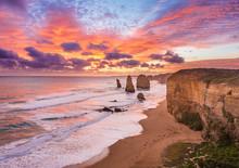 Sunset At Twelve Apostles, Great Ocean Road, Victoria, Australia