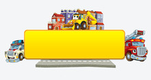 Cartoon Scene With Banner - Title Page With City Facade Cars And Street With Fire Brigade Ambulance And Digger - Illustration For Children