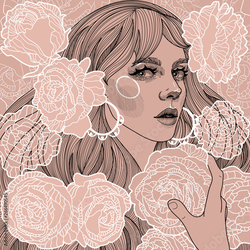 Carta da parati illustration on vintage paper beautiful girl with heavenly roses in her hands a