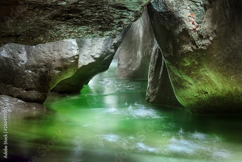 Obraz na plátně Picturesque gorge and mountain river