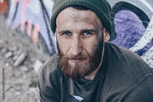 Fototapeta Poor homeless man outdoors