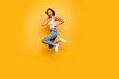 Leinwanddruck Bild - Full length body size view photo cute charming lady feel rejoice enjoy spring summer react scream shout feel satisfied glad content summer isolated dressed fashionable modern outfit yellow background