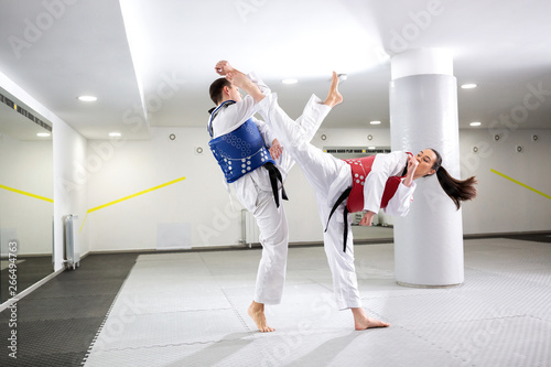 Exchange of high kicks during training of taekwondo Wallpaper Mural