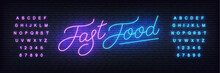 Fast Food Neon Vector Template. Glowing Night Bright Lettering Sign For Fast Food Cafe, Restaurant, Bar.