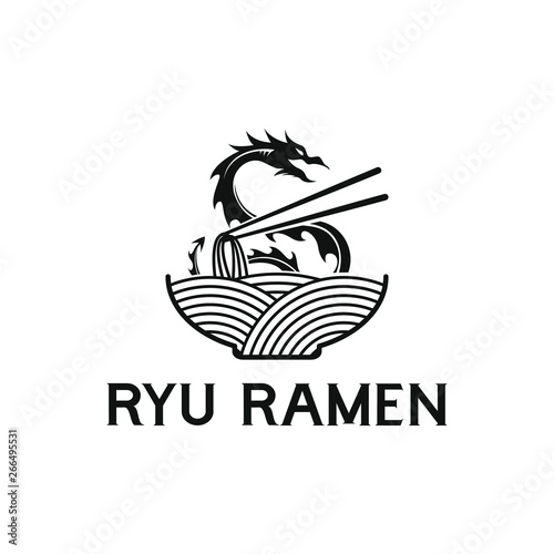 Mie ramen logo design Canvas Print