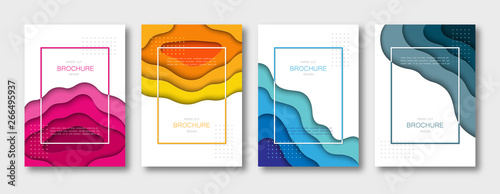 Fototapeta Set of brochure templates, covers, abstract 3d backgrounds with paper cut shapes. A4 size. Vector Illustration. obraz