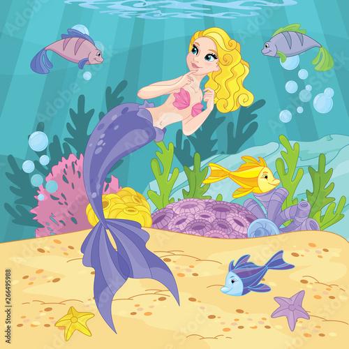 Wall Murals Mermaid Cute Princess Mermaid