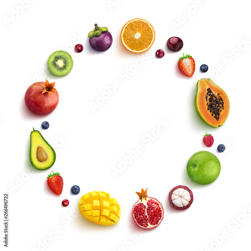 Various fruits and berries isolated on white background, top view, round frame of fruits with empty space for text - 266496722