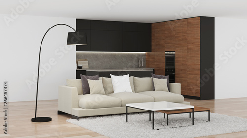 Fototapety, obrazy: Modern kitchen interior. Bright interior with black kitchen. 3D rendering.