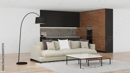 fototapeta na szkło Modern kitchen interior. Bright interior with black kitchen. 3D rendering.