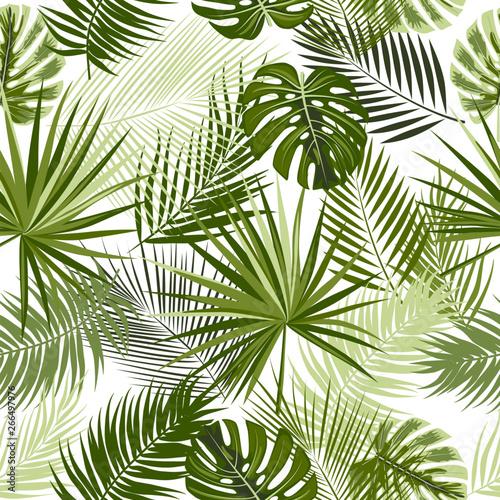 Ingelijste posters Tropische Bladeren Tropical jungle palm leaves seamless pattern