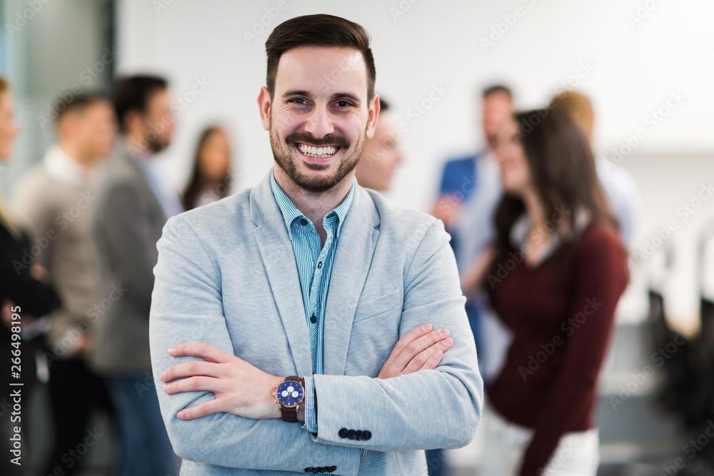 Fototapeta Portrait of business team posing in office