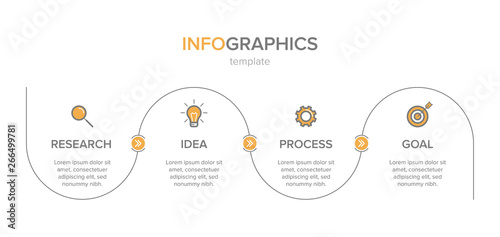 Obraz Infographic design with icons and 4 options or steps. Thin line vector. Infographics business concept. Can be used for info graphics, flow charts, presentations, web sites, banners, printed materials. - fototapety do salonu