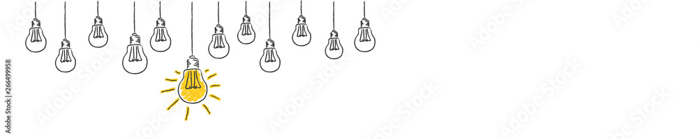 Fototapeta light bulbs idea conzept hanging