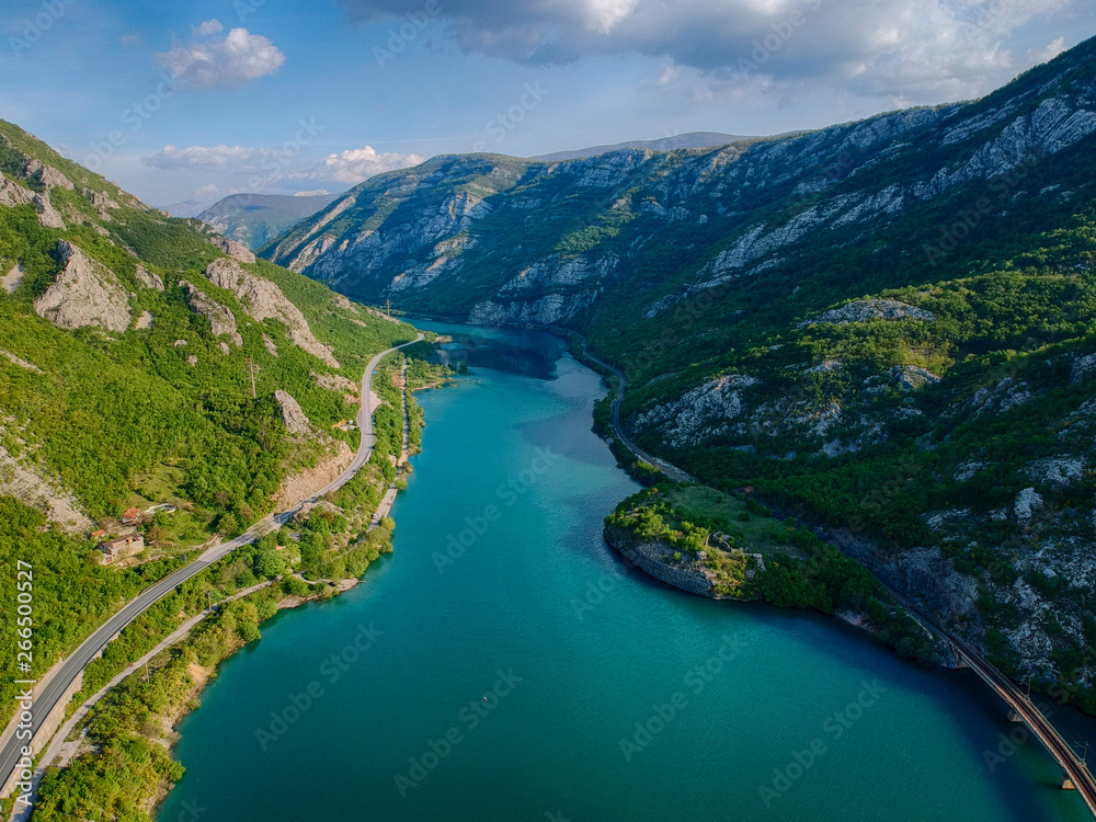 Fototapety, obrazy: Aerial view of the valley of river Neretva in Bosnia and Herzeovina