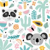 Tło dla dzieci z pandą i koalą