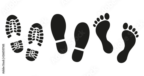 Cuadros en Lienzo Human footprints icon set.