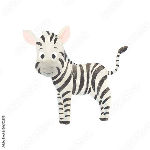 Fototapeta Little cute cartoon zebra obraz
