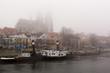 Foggy winter day on Danube promenade in Regensburg