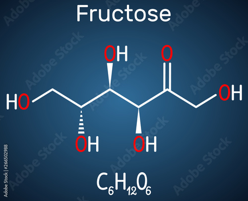 Fructose, D-fructose molecule Canvas Print
