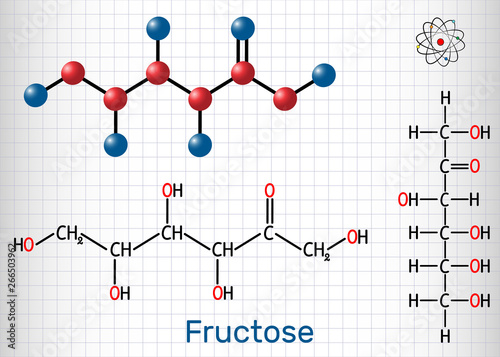 Photo Fructose, D-fructose molecule