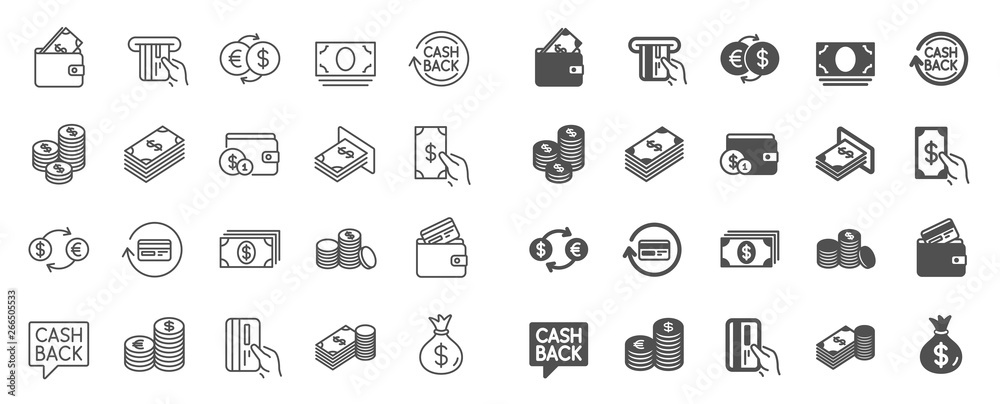 Fototapety, obrazy: Money line icons. Set of Banking, Wallet and Coins icons. Credit card, Currency exchange and Cashback money service. Euro and Dollar, Cash wallet, exchange. Banking credit card, atm payment. Vector