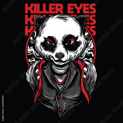 Fotografie, Tablou  Killer Eyes Red Mafia Illustration