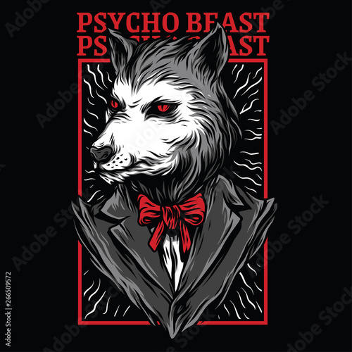 Psycho Beast Red Mafia Illustration Wallpaper Mural