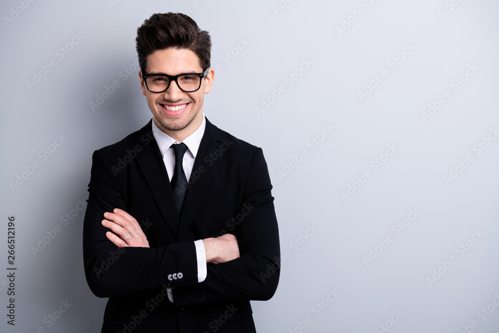 Obraz Portrait of his he nice imposing representative elegant classy chic brainy attractive cheerful guy executive leader expert development agent broker isolated over light gray background fototapeta, plakat