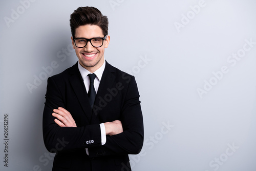 Fototapeta Portrait of his he nice imposing representative elegant classy chic brainy attractive cheerful guy executive leader expert development agent broker isolated over light gray background obraz