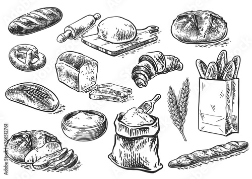 Fotografia bread sketch set