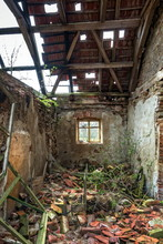 View Inside Of An Abandoned Farm House