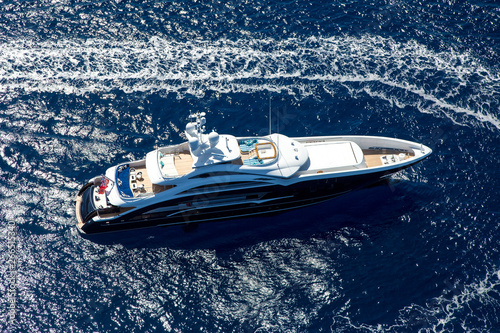 luxury yacht in the sea Top view