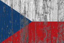 Flag Of Czech Republic Painted On Worn Out Wooden Texture Background.