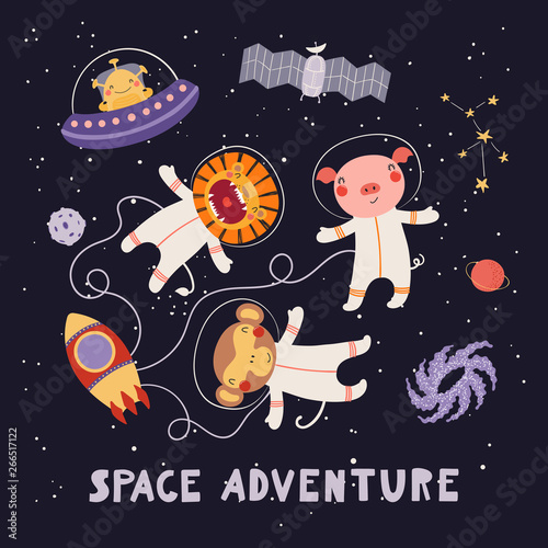 Printed kitchen splashbacks Illustrations Hand drawn vector illustration of cute animal astronauts, alien in space, with lettering quote Space adventure. Isolated objects on dark. Scandinavian style flat design. Concept for children print.